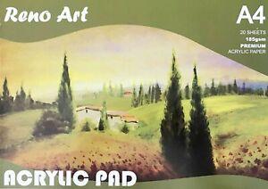 A4-Premium-Acrylic-Pad-20-Sheets-185gsm-Art-Painting-Drawing-Reno-Art