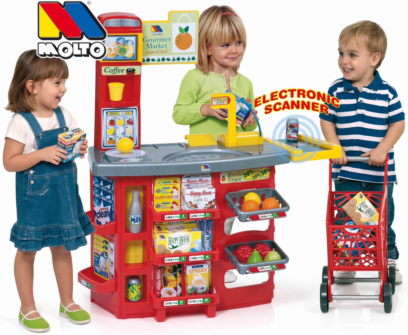 Molto Supermarkt Kaufladen Verkaufsstand mit Einkaufswagen Waage Scanner Sound