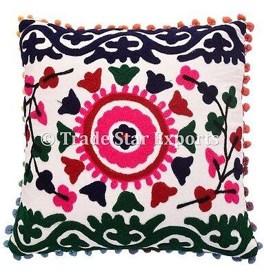 Decorative Vintage Uzbek 16X16 Embroidered Suzani Cushion Cover Indian Cases
