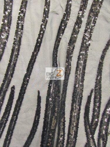 BY YARD BRIDAL DECOR PARIS ABSTRACT SEQUINS DRESS MESH FABRIC Black//Black
