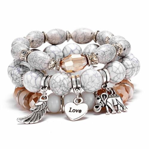 3pc//set Fashion Couple White Bead Bracelet Women Multilayer Bangle Wing Elephant