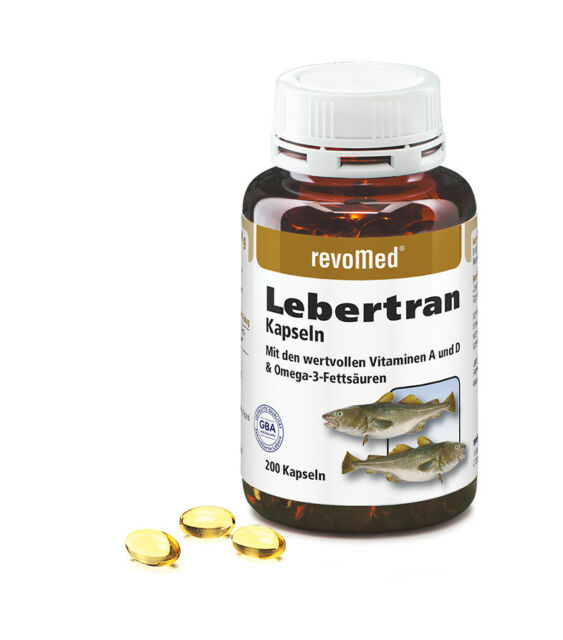 200 Lebertran Kapseln (1 Dose) von Revomed, natürliche Vitamine A + D