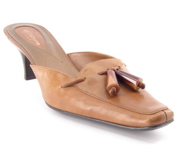 Ny LIZ CLABORNE Kvinnor Kvinnor Kvinnor Tan läder Slide Mule Med Heel Sandal skor Storlek 7.5 M  billig och högsta kvalitet