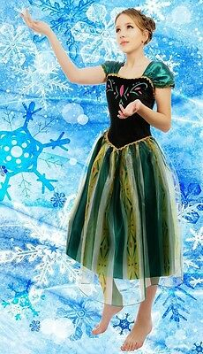 Adult Womens Frozen Queen Anna Costume Cosplay Party Gown Fancy Dress Outfit