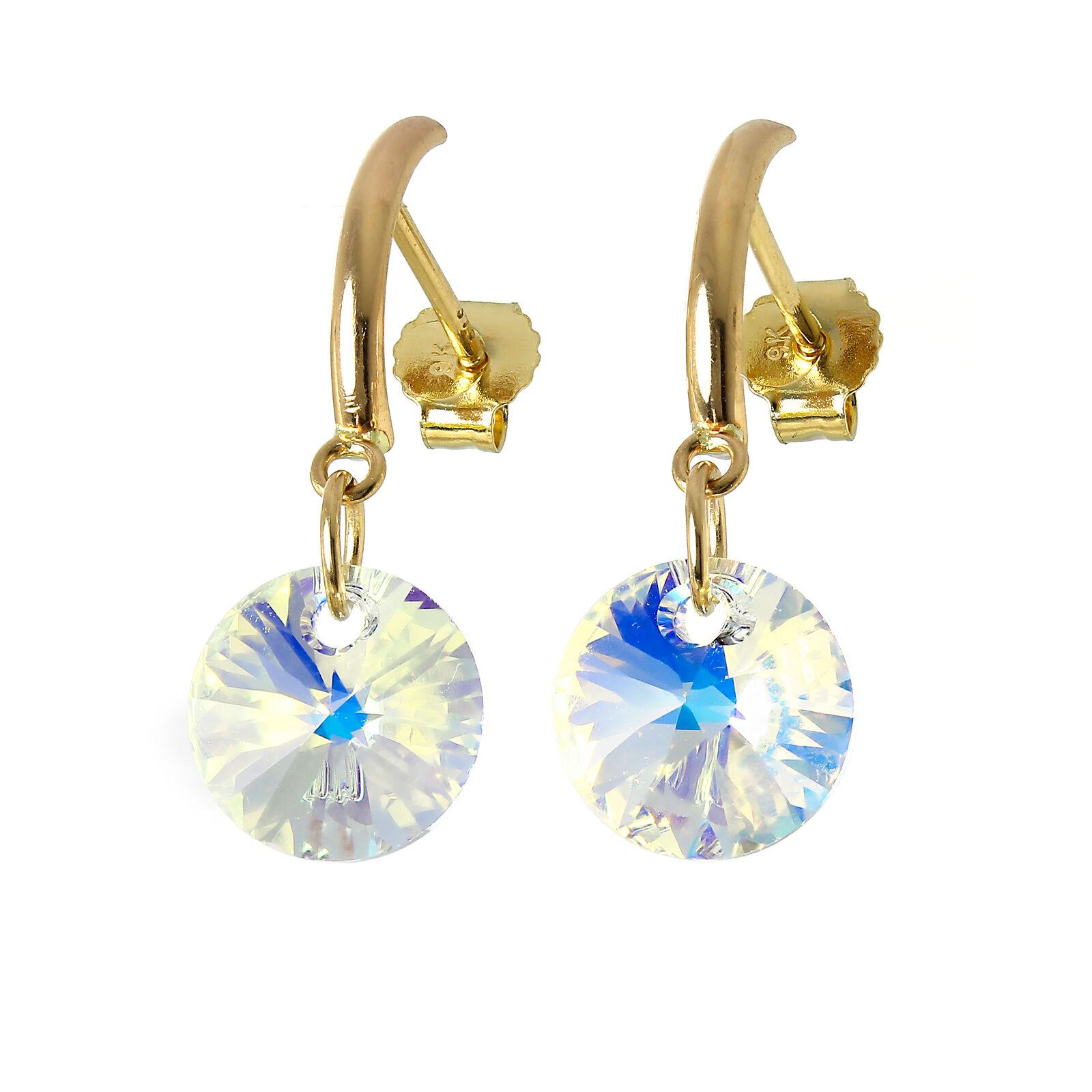 9ct gold & Round Aurora Borealis CZ Crystal Stud Earrings Studs Dangle