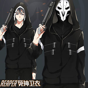 overwatch ow reaper cosplay jacket black zip up sweatshirt hoodie