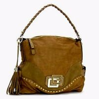 Guess By Marciano Camel Gold Large Leather & Suede Hobo Satchel Tote Purse