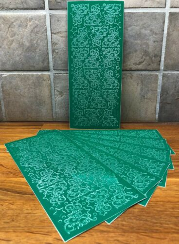Craft Clearout PEEL OFFS Bundle x 7 Sheets Christmas Ornate Corners Green BN