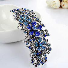 Metal Hair BARRETTE Clip Antiqe Silver Blue Rhinestones Diamante Hair Clamp Clip