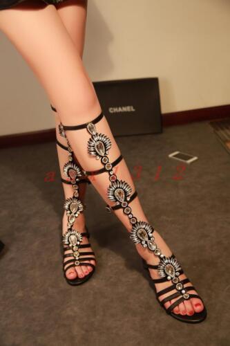 Roman Womens Fashion Flat Knee High Boots Sandals Gladiator Rhinestone Shoes