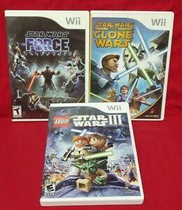 LEGO-Star-Wars-III-Clone-Wars-Lightsabre-Force-Unleashed-Nintendo-Wii-3-Game-Lot