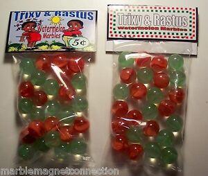 "2 Bags Of Trixy /& Rastus Watermelon Marbles /""Black Americana/"" Promo Marbles"