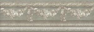 Wallpaper-Border-Faux-Plaster-Architectural-Swag-Molding-Sage-Taupe-Gray