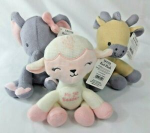 NWT-Dan-Dee-Embroidered-034-My-First-Easter-034-Knit-Plush-Elephant-Lamb-or-Giraffe