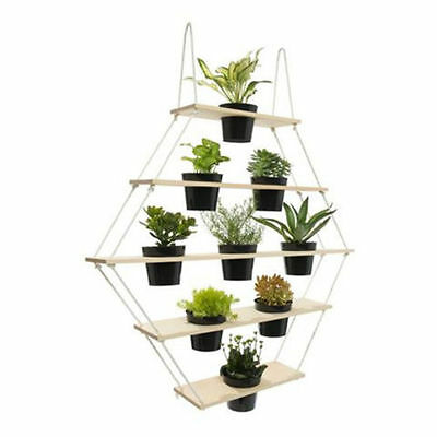 5 Tier Wooden Pentagon Planter Pot Hanger Natural And White 94.5cm H