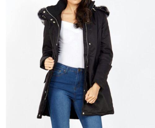 Size10 Fur Qed B207 Parka London s Rrp£85 Trim Bonded wOYZnFZq
