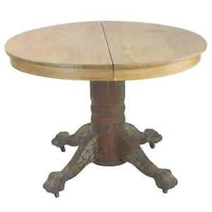 American classic oak round ball and claw dining extension for American classic antiques