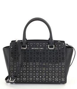 be4d96cd31ba Michael Kors Medium Selma Perforated Floral Leather Satchel Black ...