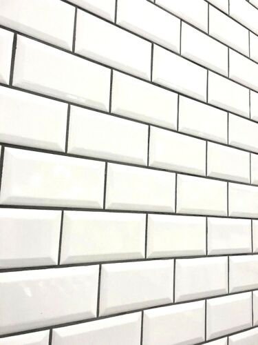 White 3x6 Beveled Shiny Glossy Finish Ceramic Subway Tile Backsplash Wall Bath by Squarefeet Depot