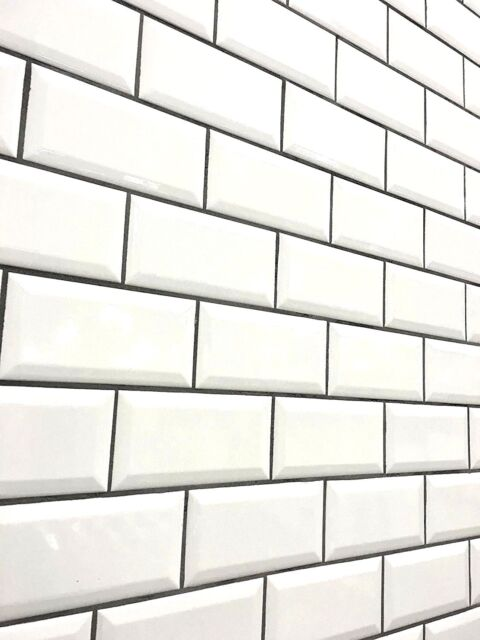 white beveled subway tile | White 3x6 Beveled Shiny Glossy Finish Ceramic Subway Tile ...