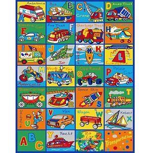 Image Is Loading Kids Children Rug Abc Transportation Car Educational 39