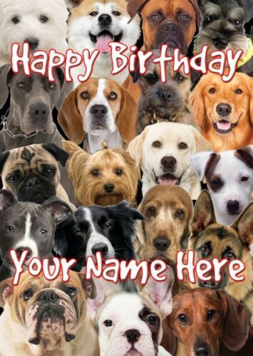 Dog Breeds Occasion Personalised Greeting Card Birthday Fathers Mum Nan PIDDB9