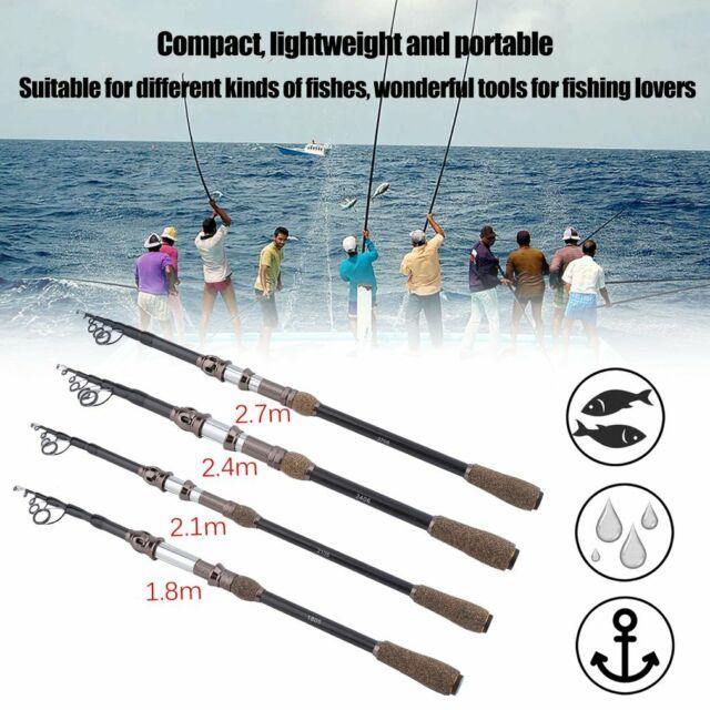 Carbon Fiber Telescopic Pocket Fishing Rod Travel Spinning Pole Mini Travel F2Z6