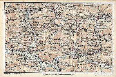 Cartina Geografica Carnia.Carta Geografica Antica Tolmezzo Carnia Orientale Udine Tci 1920