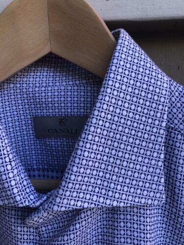 Canali 1934 Silver Label Blue White Geometric Chec