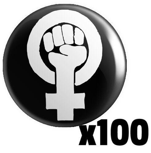 Feminism Fist Logo BUTTON PIN BADGE 25mm 1 INCH Feminist Women/'s Rights v2