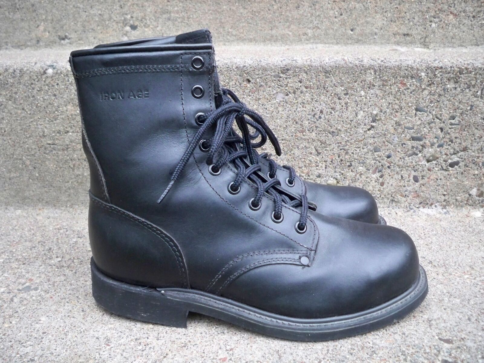 Iron Age Black Leather Men's Work Riding Biker Motorcycle Steel Toe Boots 7.5 D