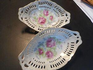 """Une paire de """"Dresde rose"""" gold découpé peint main 6"""" porcelaine bols... NW 9-112-afficher le titre d`origine ZOF04dK2-09165248-368433660"""