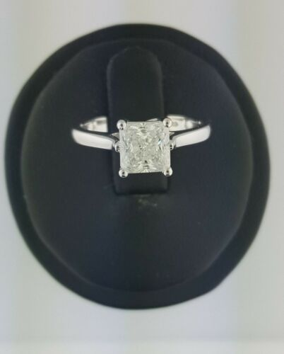 14K Solid White Gold 1.75 Ct Diamond Princess Cut Solitaire Engagement Ring