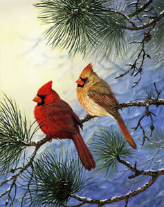 Cardinal-on-the-branch-Oil-painting-printed-Art-Printed-on-canvas-L2727