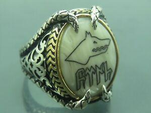 Turkish-Handmade-Jewelry-925-Sterling-Silver-Pearl-Stone-Men-039-s-Ring-Sz-12