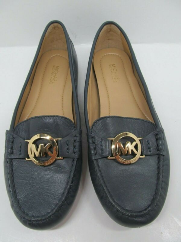 Reasonable Michael Kors Moccasin Loafers Navy Blue Womens Size 6 Outstanding Features