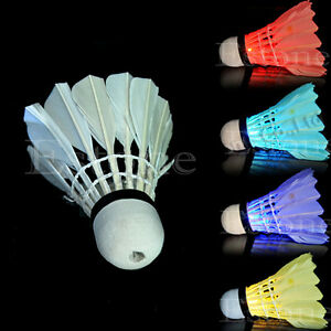 Brand New 4 Pcs Birdies Lighting Dark Night Colorful LED Badminton Shuttlecock