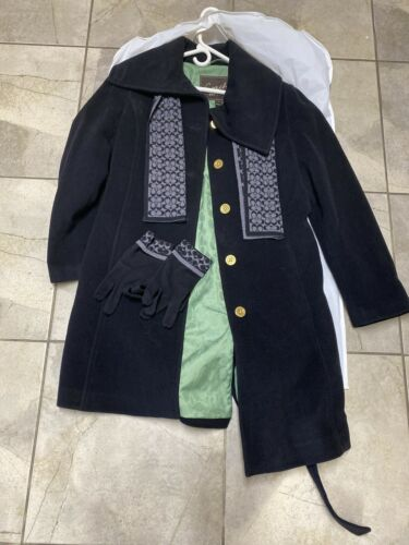 Coach Black long wool Trench coats Belted Scarf Gl