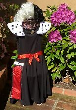 NWT DISNEY VILLAINS CRUELLA DEVILLE 101 DALMATIANS COSTUME WIG GLOVES GIRL M 7 8