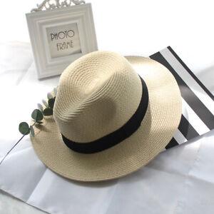 Beach-Sun-Hat-Women-Straw-Panama-Hat-Handmade-Flat-Wide-Brim-Cowboy-Cap-Summer