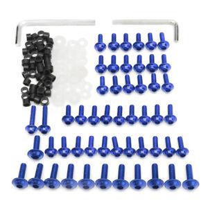 158-x-Verkleidungsschrauben-Kit-Verschluss-Clips-Schrauben-fuer-Motorrad-Blau