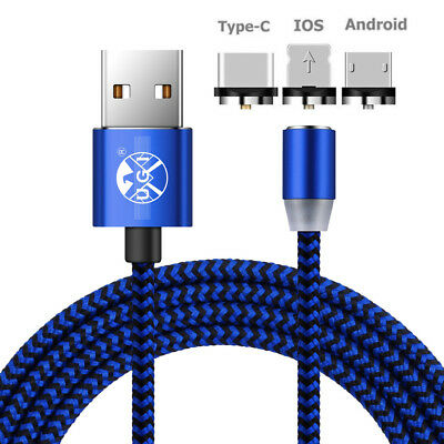 1M/2M/3M Round Magnetic Micro USB Type C Charger Cable For iPhone 8 Samsung Lot