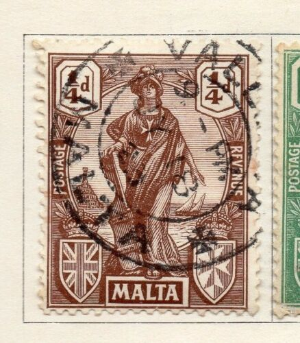 Malta 1922-23 Early Issue Fine Used 1/4d. 159297