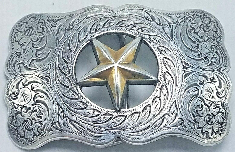 Vintage Nocona Silberfarben & Messing Western Star Ausgeschnitten Gürtelschnalle