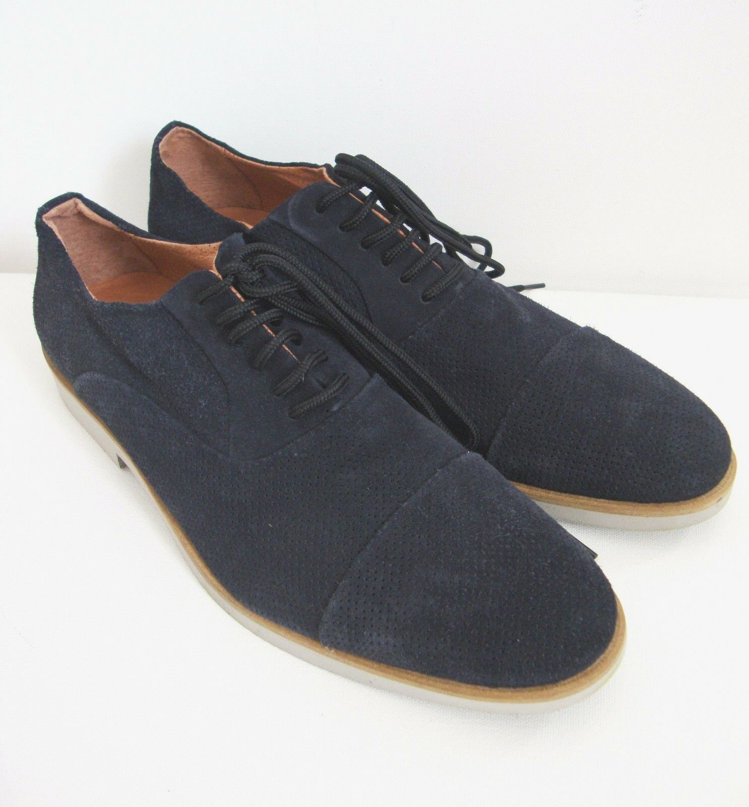 New BACCO BUCCI  DAVOR  Navy Suede Perforated Cap Toe Oxford shoes US-13