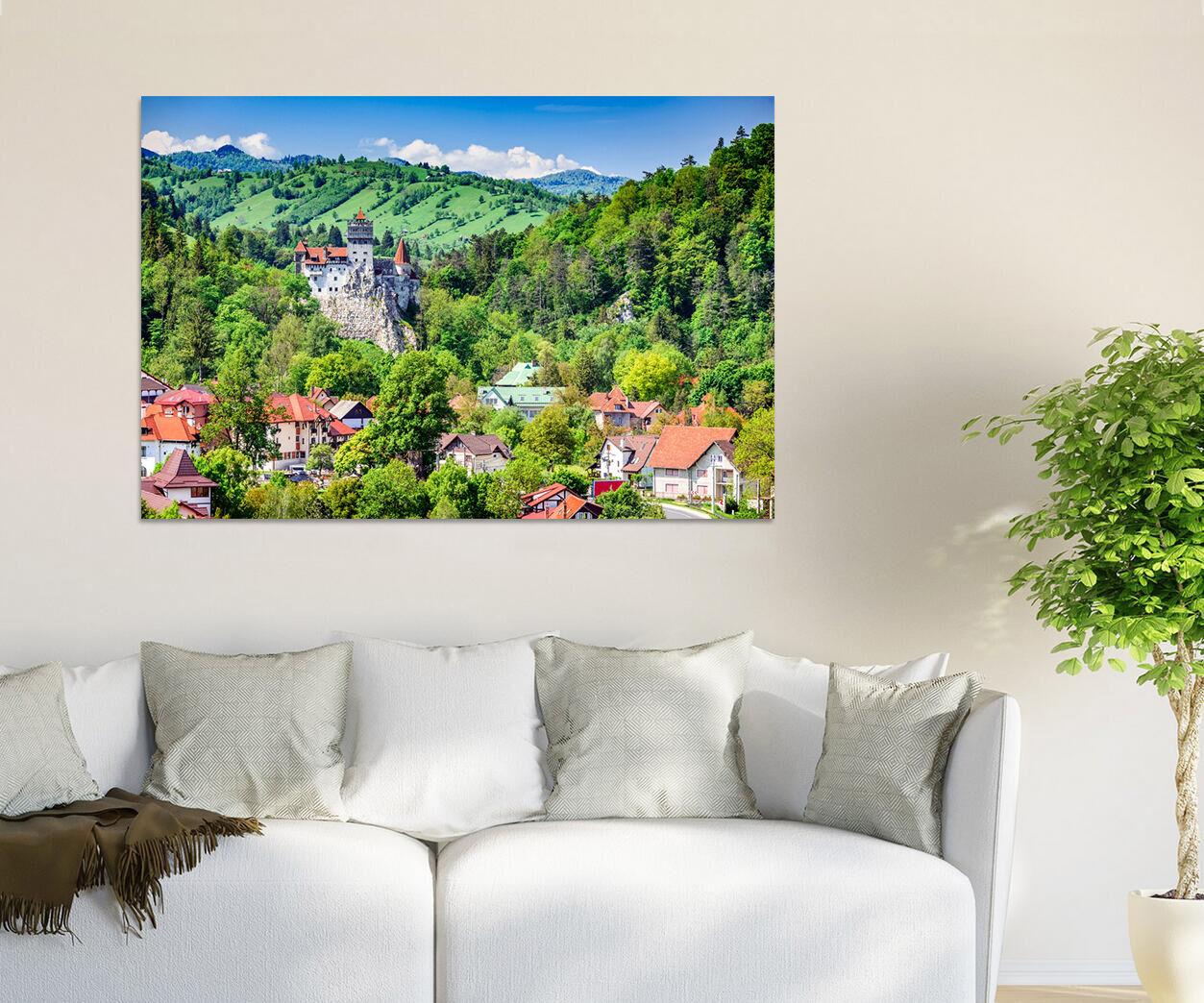 3D Grne Berge, Huser 7443 Fototapeten Wandbild BildTapete Familie AJSTORE DE