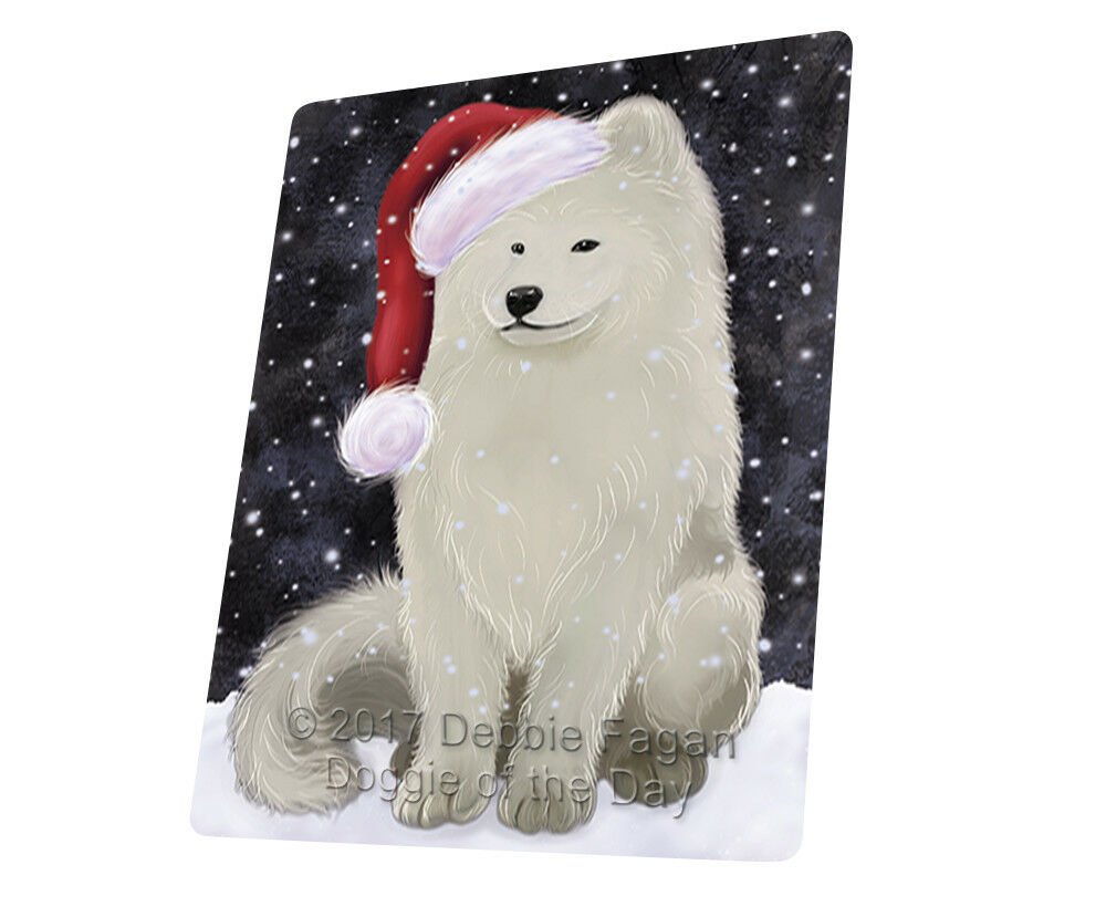 Let it Snow Christmas Holiday Samoyed Dog Woven Throw Sherpa Blanket T260