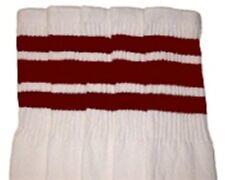"22"" KNEE HIGH WHITE tube socks with MAROON stripes style 1 (22-18)"