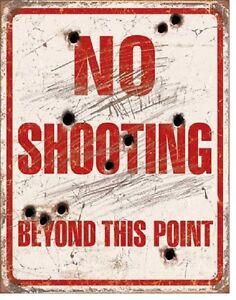 No-Shooting-Beyond-This-Point-Hand-Gun-Warning-Bear-Arms-Decor-Metal-Tin-Sign