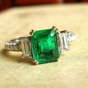 3Ct-Emerald-Cut-Green-Diamond-Solitaire-Engagement-Ring-14K-White-Gold-Finish